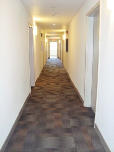 Classic hallways with bright energy efficient lighting