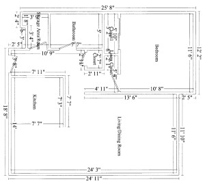 1 Bedroom Suite - Dimensions are approximate and vary from suite to suite. Note some units are a mirror image of this illustration.