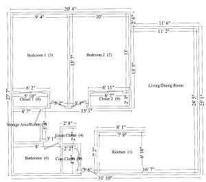 1 Bedroom Suite – Dimensions are approximate and vary from suite to suite. Note some units are a mirror image of this illustration.